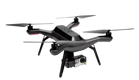 3DR Solo camera drone  front view in air