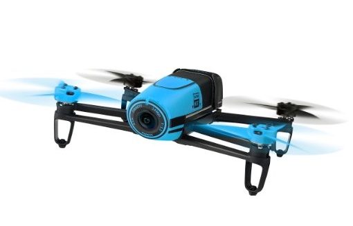 AR Parrot Bebop BLUE - front in flight