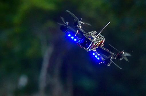 Helipal Storm Type A Racing Drone - flying fast at angle at night