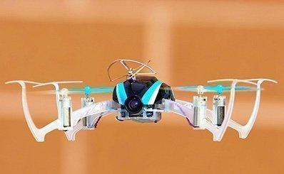 Blade Nano mini quadcopter - hobbytron in flight side view