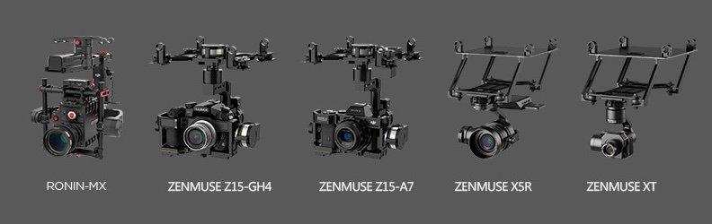 DJI M600 - camera gimbal setups