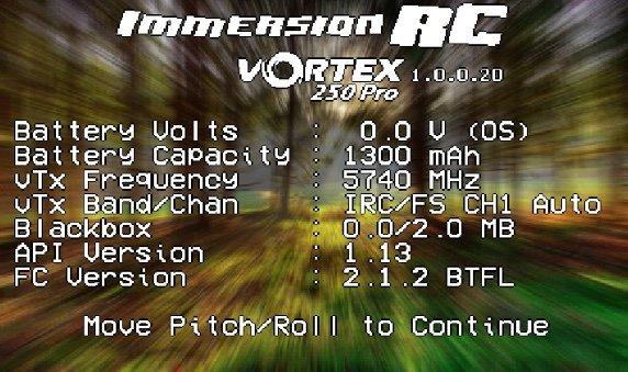Vortex 250 PRO - on screen display