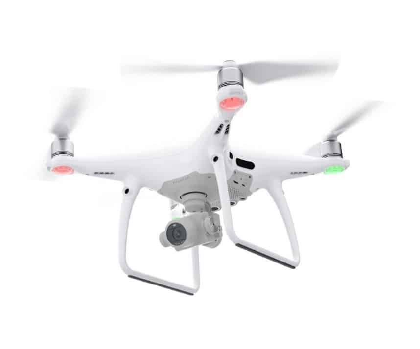 DJI Phantom 4 PRO Drone Camers Flying With Directional Beacons Lit